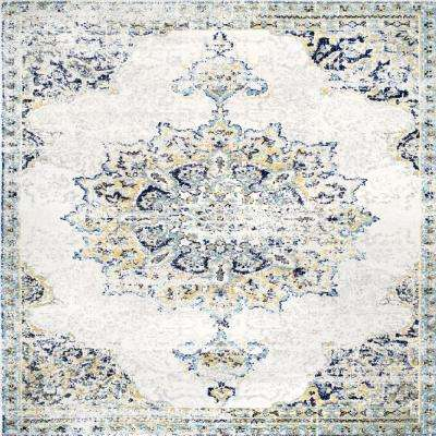 Sunny Wildflower Medallion Blue 8 ft. x 8 ft. Square Area Rug