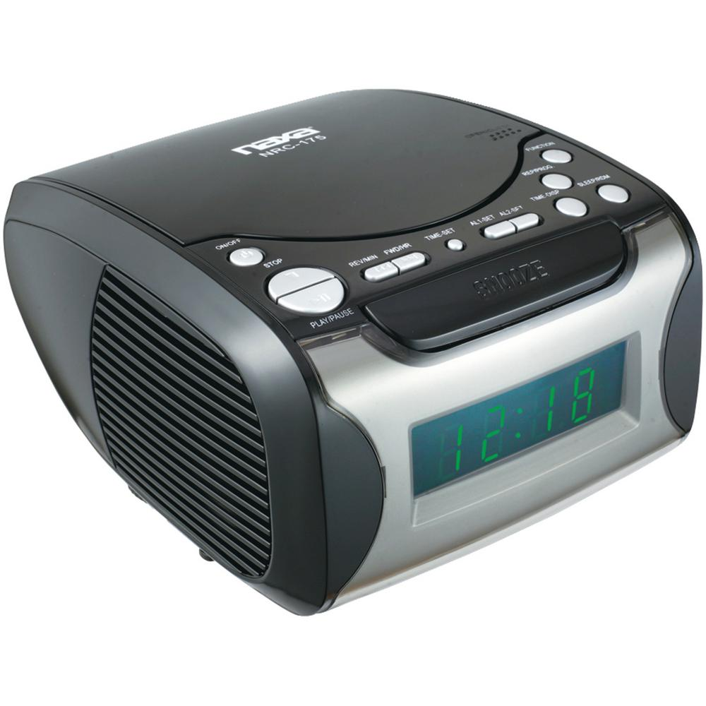 naxa digital alarm clock radio and cd player nrc175 the home depot. Black Bedroom Furniture Sets. Home Design Ideas