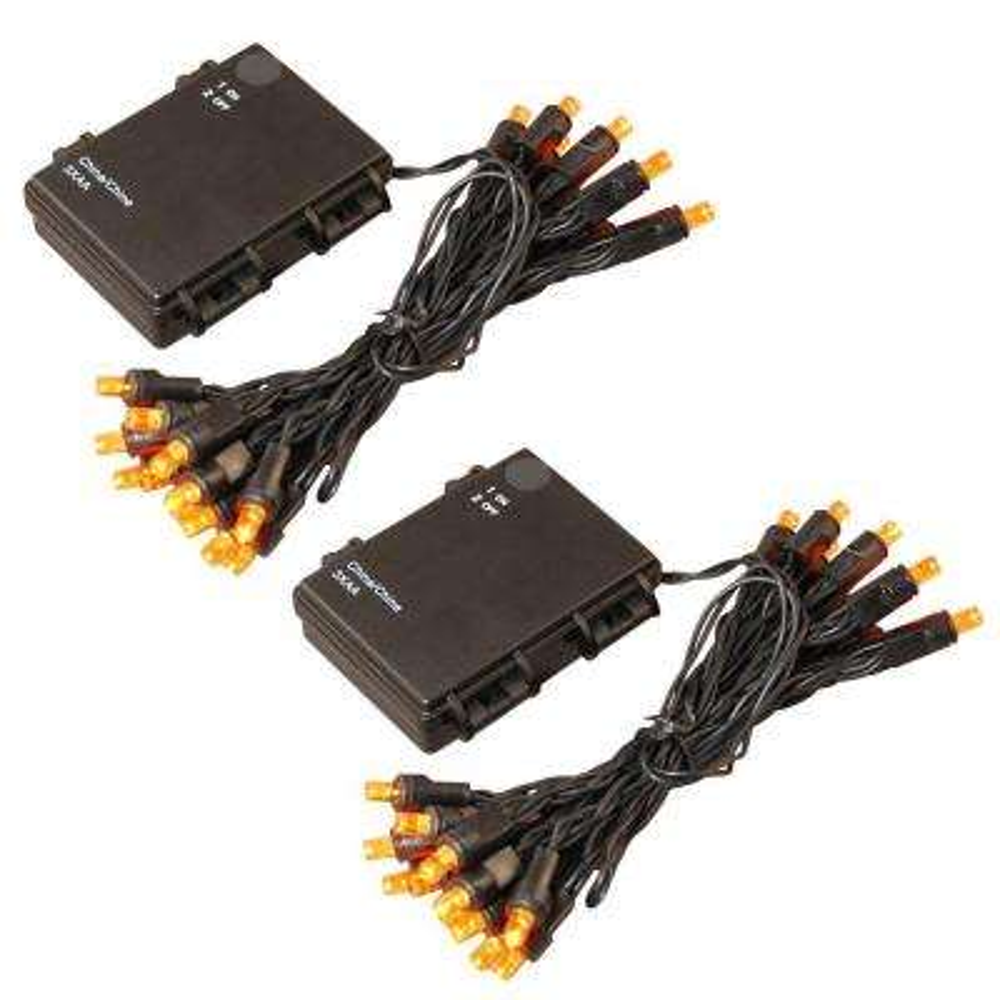 10 ft. 25-Light Orange Battery Operated String Lights (Set of 2)