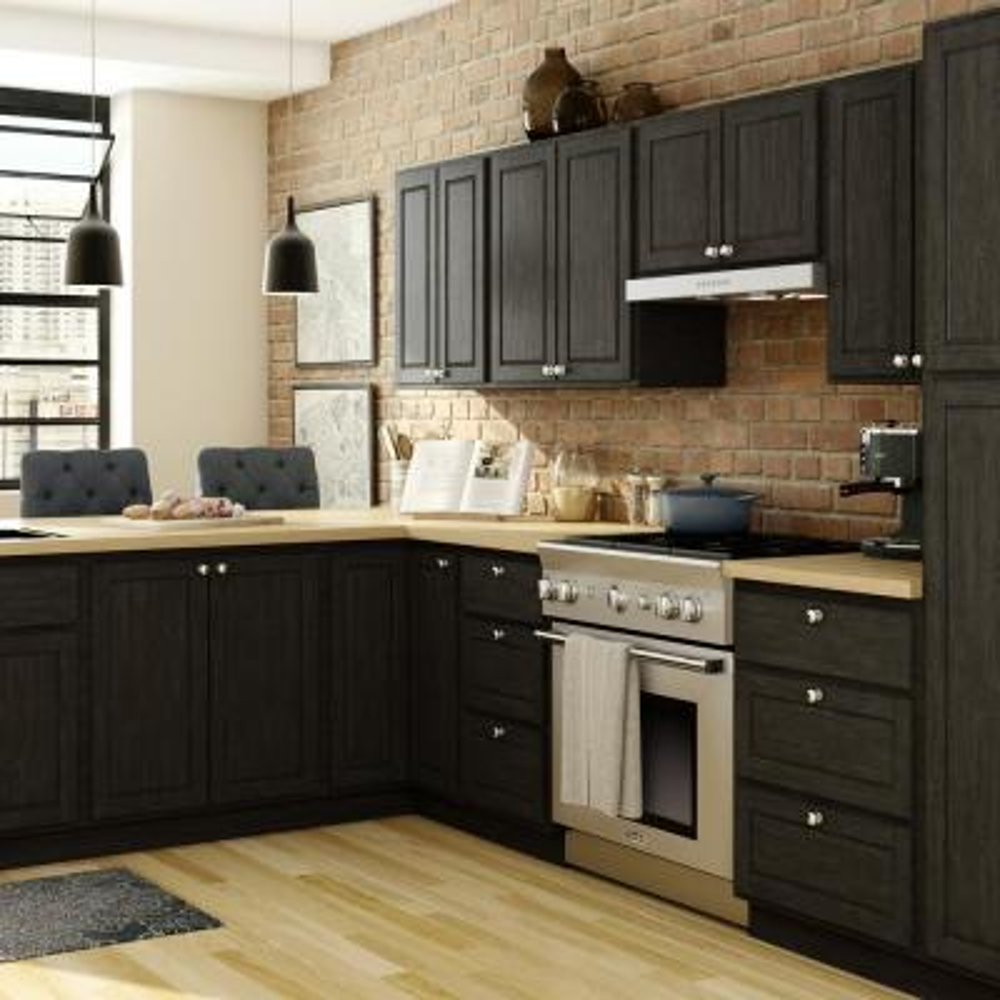 Stratford Assembled 28.5x34.5x28.5 in. Corner Base Cabinet in Unfinished Oak