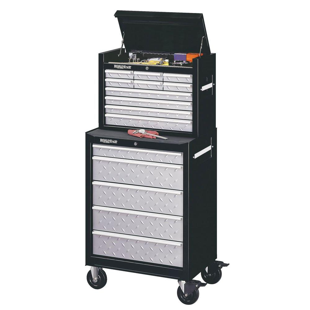 Remline 26 in. 15 Drawer Tread Plate Chest/Cabinet Combo -DISCONTINUED