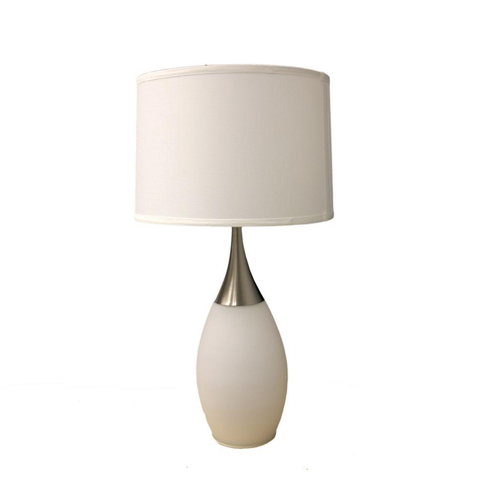 28 in. Modern Night Light White Table Lamp