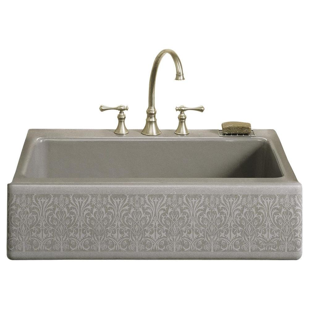KOHLER Dickinson Undermount Cast-Iron 33 in. 4-Hole Single Basin Kitchen Sink in Sandbar