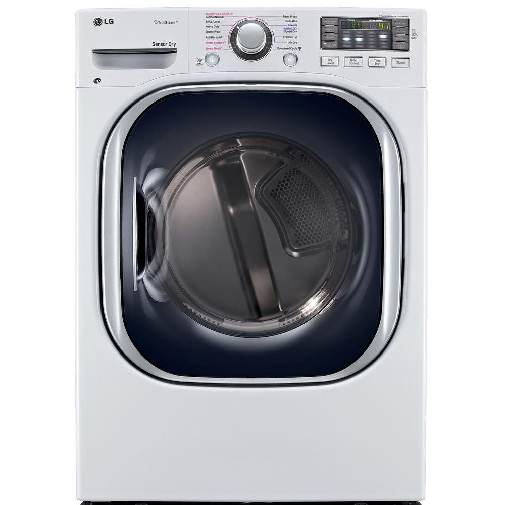 LG Electronics 7.4 cu. ft. Electric Dryer with Steam in White, ENERGY STAR