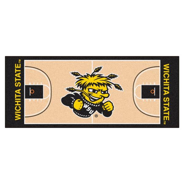 NCAA Wichita State University 2.5 ft. x 6 ft. Basketball Court Runner Rug