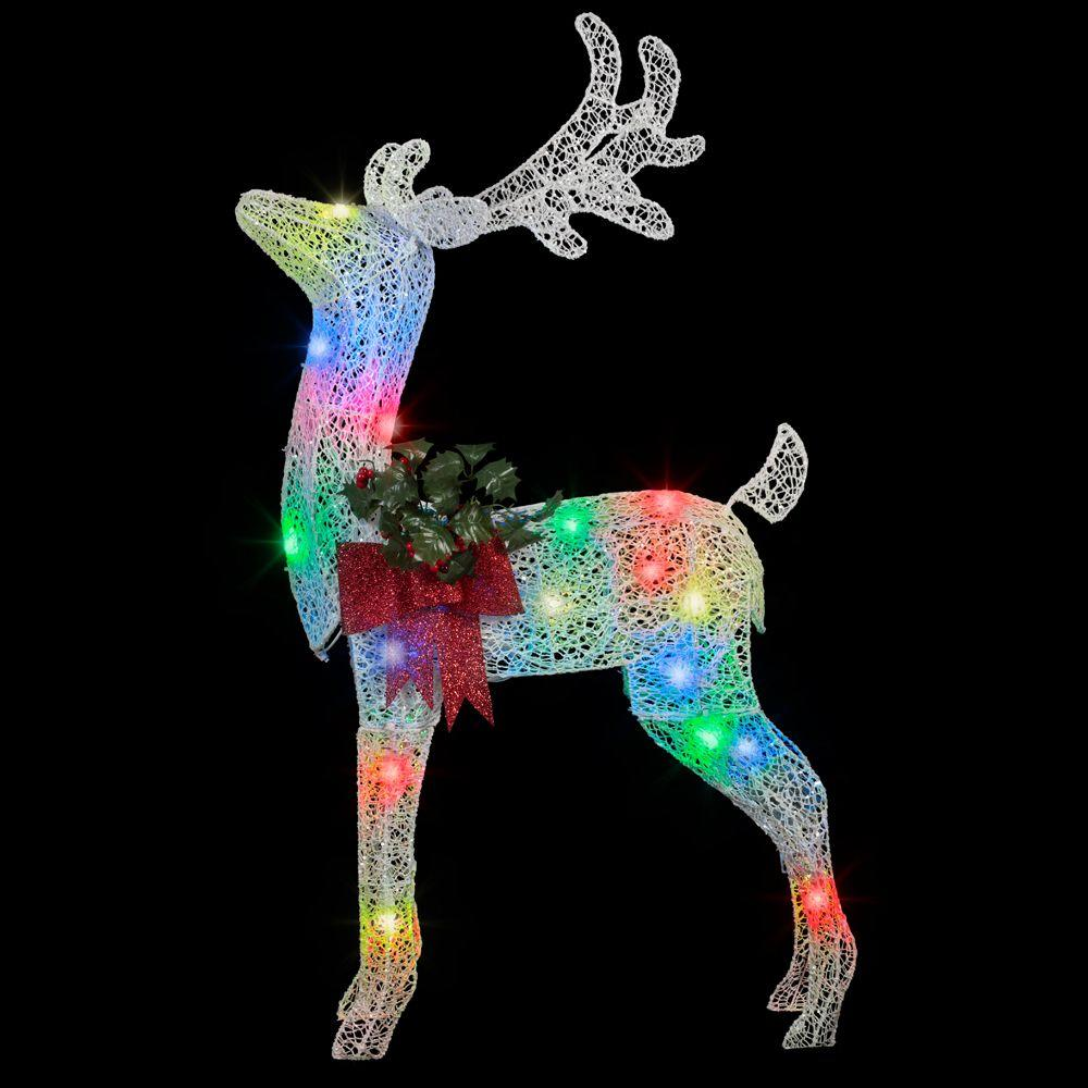 Applights in lighted crystal swirl buck yard sculpture 38984 the home depot for Home depot christmas decorations for the yard