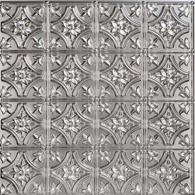 Gothic Reams 2 ft. x 2 ft. PVC Glue-up Ceiling Tile in Silver