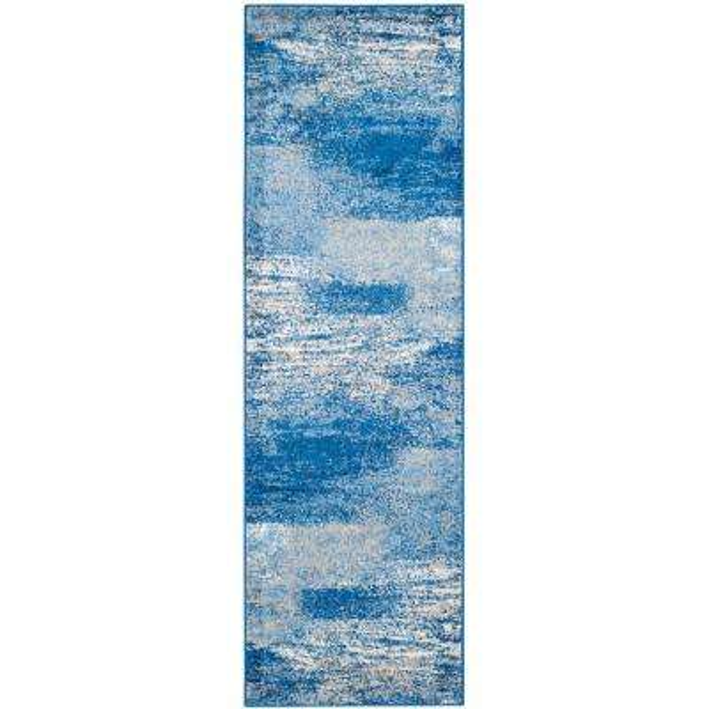 Adirondack Silver/Blue 3 ft. x 22 ft. Runner Rug