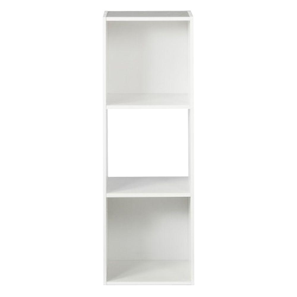 36 in. H x 12 in. W x 12 in. D White Wood 3-Cube Storage Organizer