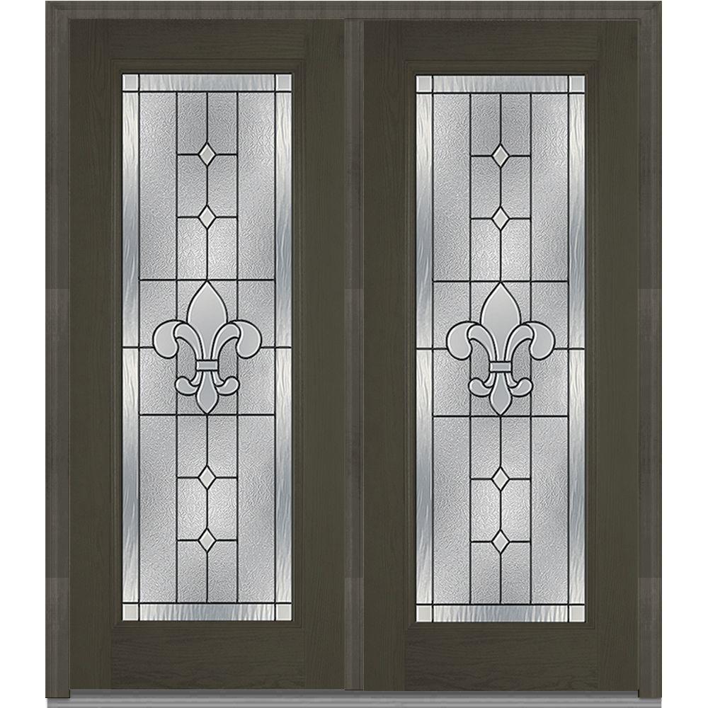 66 in. x 81.75 in. Carrollton Decorative Glass Full Lite Oak Finished Fiberglass Exterior Double Door
