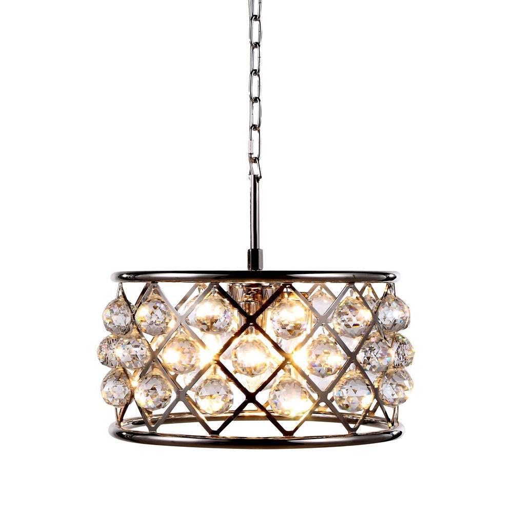 Elegant Lighting Madison 4 Light Polished Nickel Royal Cut Crystal Clear Pendant