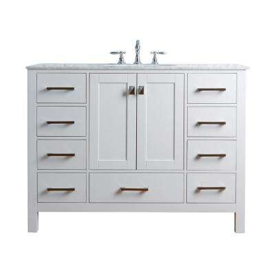 Malibu 48 in. Vanity in Pure White with Marble Vanity Top in Cararra White with White Basin