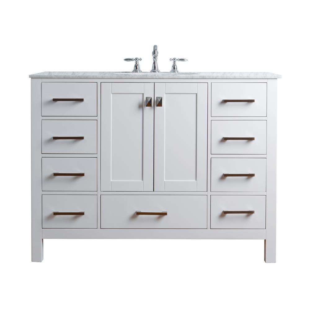 Vanity Pure White Marble Vanity Top White Basin