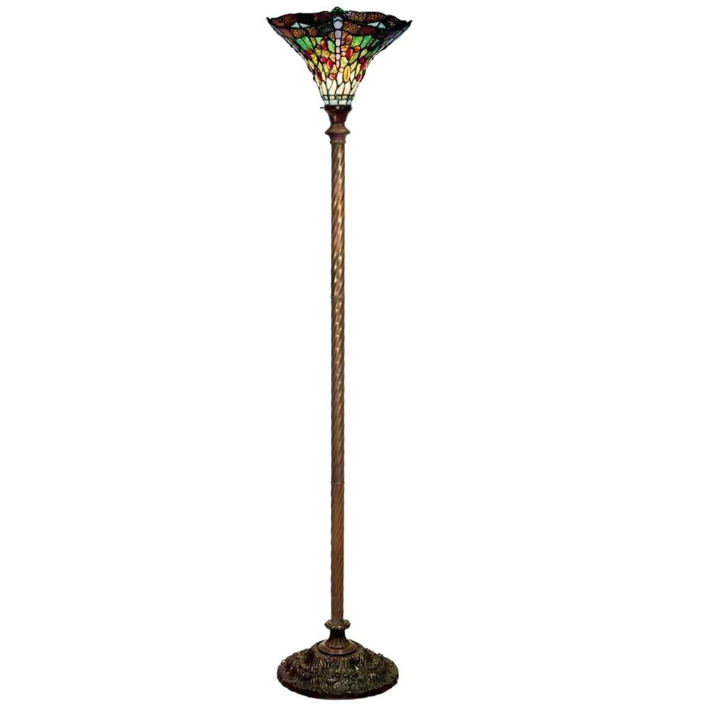 Antique Bronze Dragonfly Stained Glass Floor Lamp With Foot