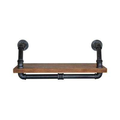 Moscow Industrial Floating Silver Brushed Gray Pipe Wall Shelf with Walnut Wood