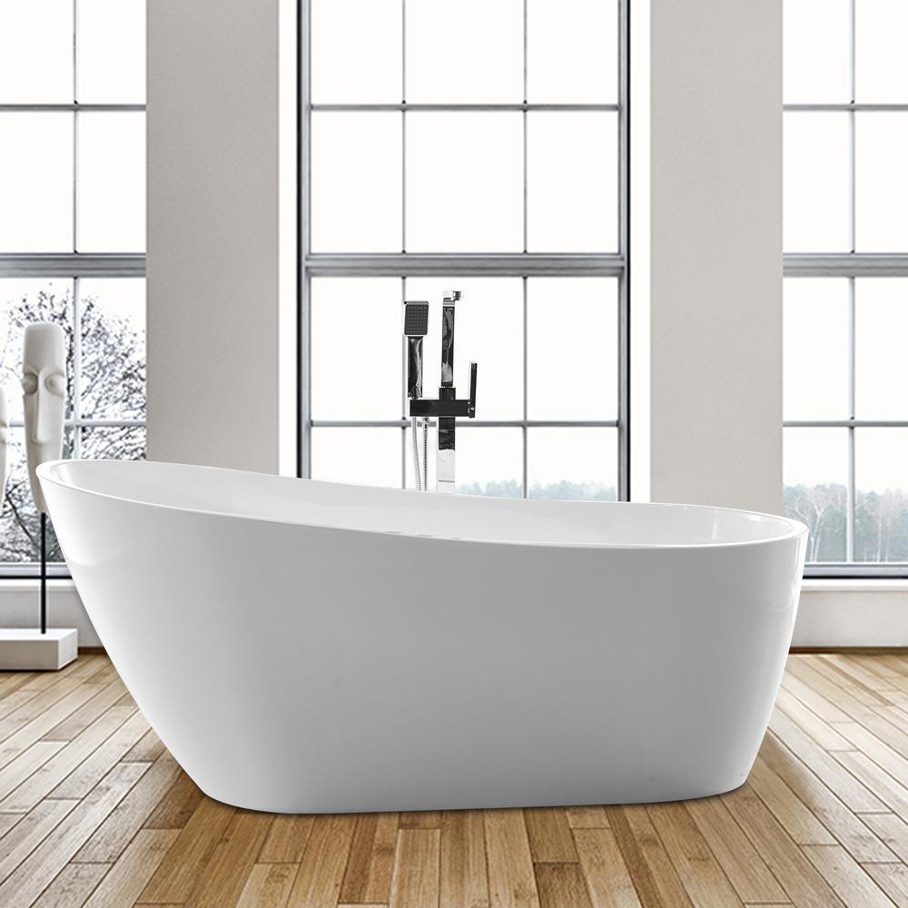 Vanity Art Colombes 67 in. Acrylic Flatbottom Freestanding Bathtub in White
