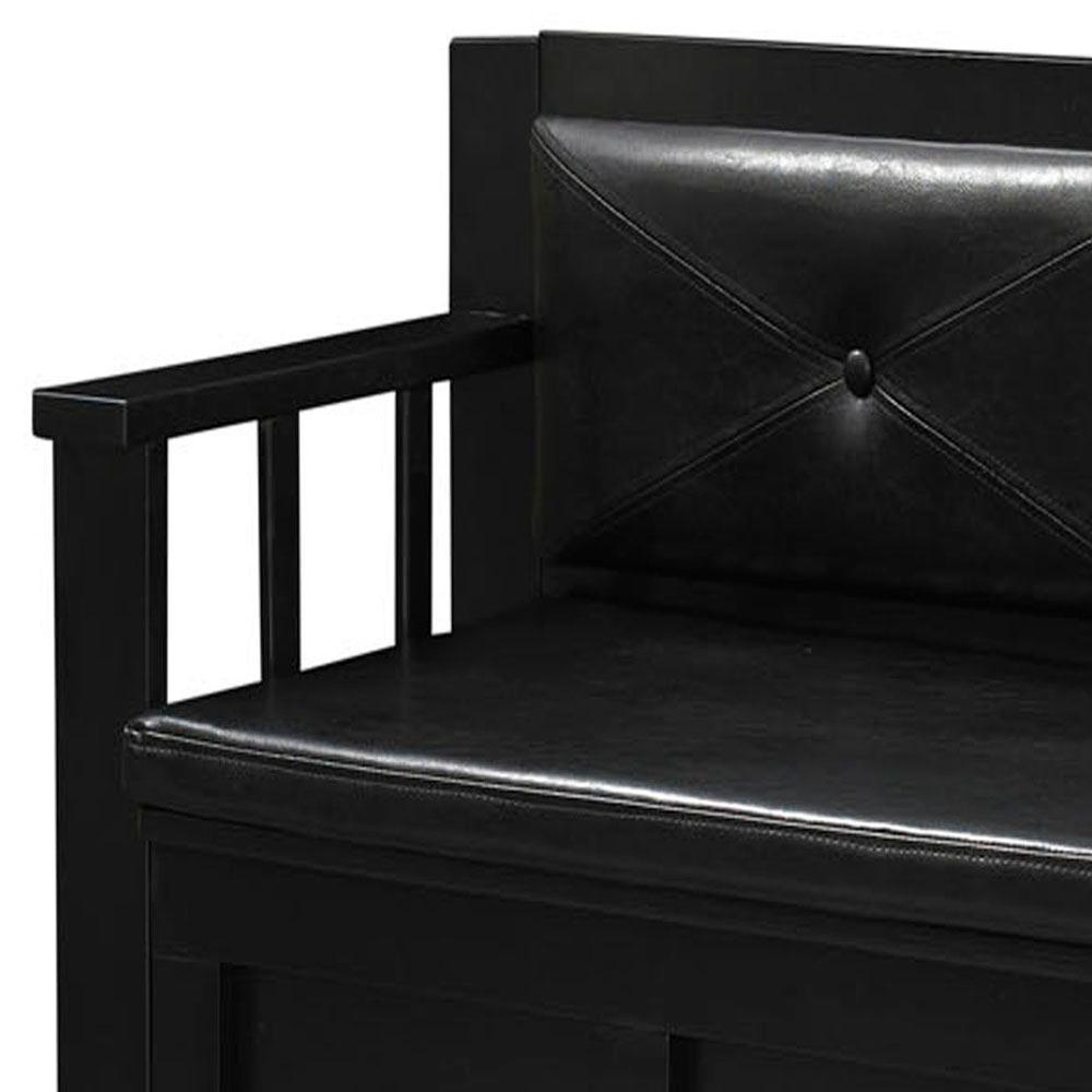 3523a28a6d3a Linon Home Decor Carlton Black Bench 84021BLK-01-KD-U - The Home Depot