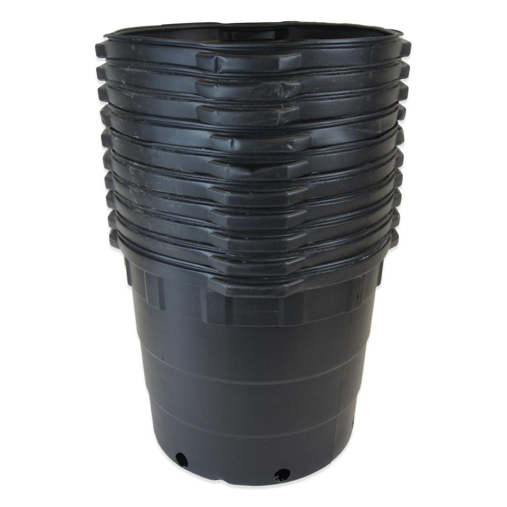 Viagrow 10 Gal Round Plastic Nursery Pots 10 Pack Vhpp1000 10 The Home Depot