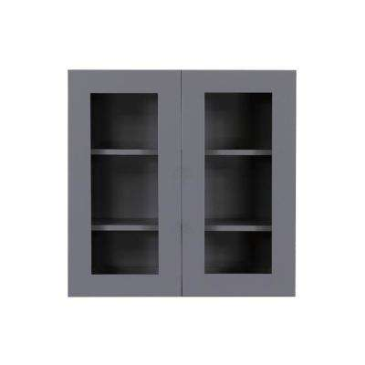 Shaker Assembled 27x30x12 in. Wall Mullion Door Cabinet with 2 Door 2 Shelves in Vintage Stone Wash