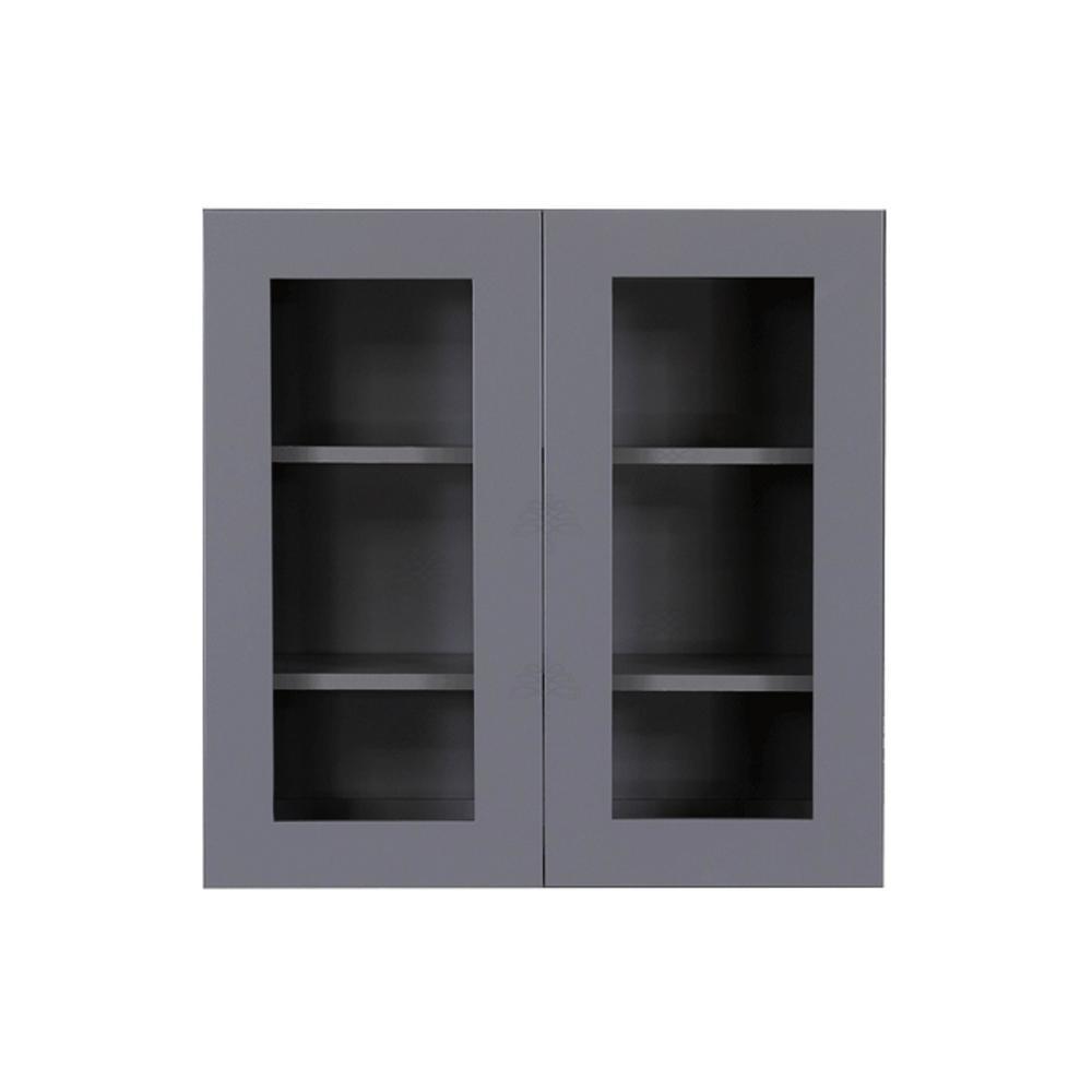 Shaker Assembled 24x36x12 in. Wall Mullion Door Cabinet with 2 Door 2 Shelves in Gray
