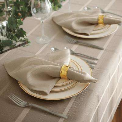 17 in. W x 17 in. L Elrene Elegance Plaid Damask Beige Fabric Napkins (Set of 4)