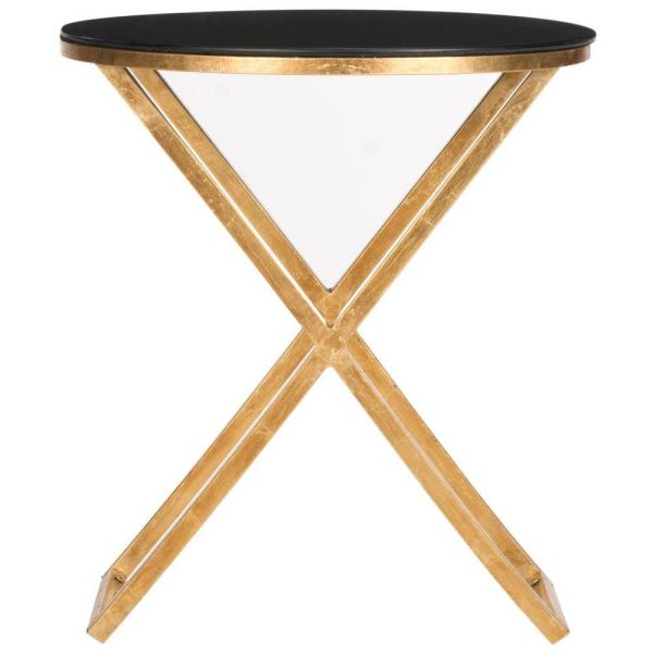 Safavieh Riona Gold and Black Glass Top End Table FOX2539B