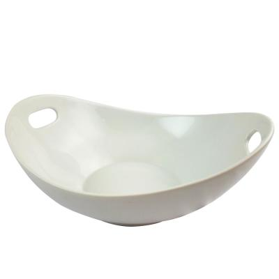 Gracious 11.25 in. 1-Piece White Dining Serving Bowl with Handles