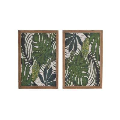 LITTON LANE Natural 25 in. Brown and Green Wood Framed Leaf Art Wall Décor (Set of 2)