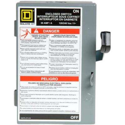30 Amp 240-Volt 2-Pole Fused Indoor Light Duty Safety Switch