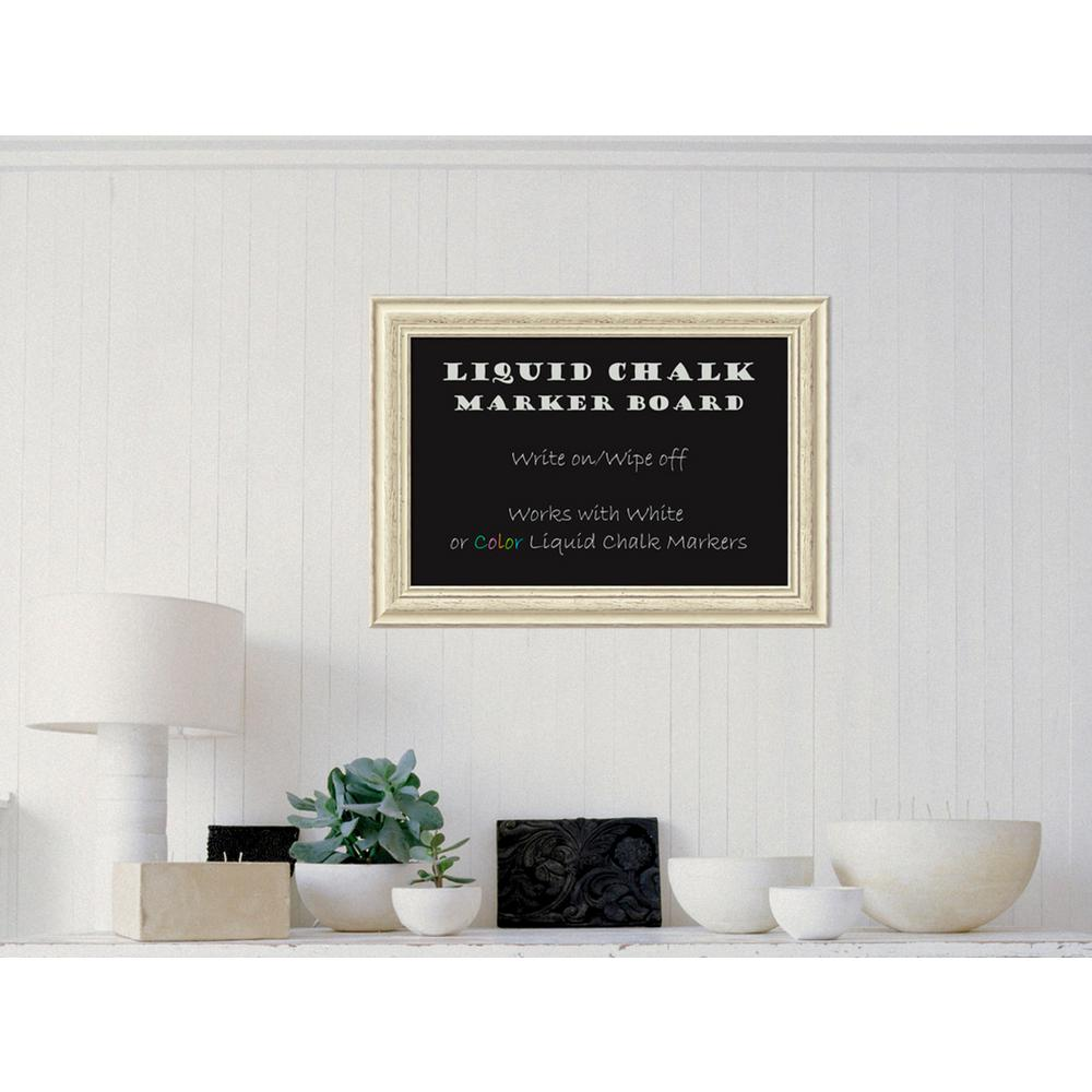 Amanti Art Country White Wash Wood 29 in. W x 21 in. H Framed ...