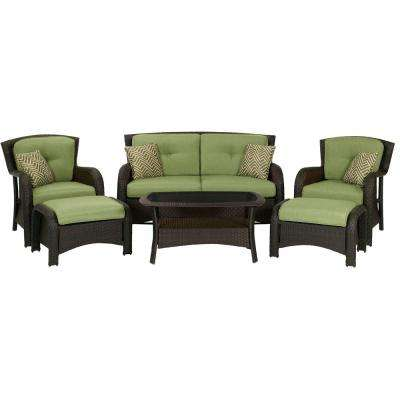 Corolla 6-Piece Wicker Patio Conversation Set with Green Cushions