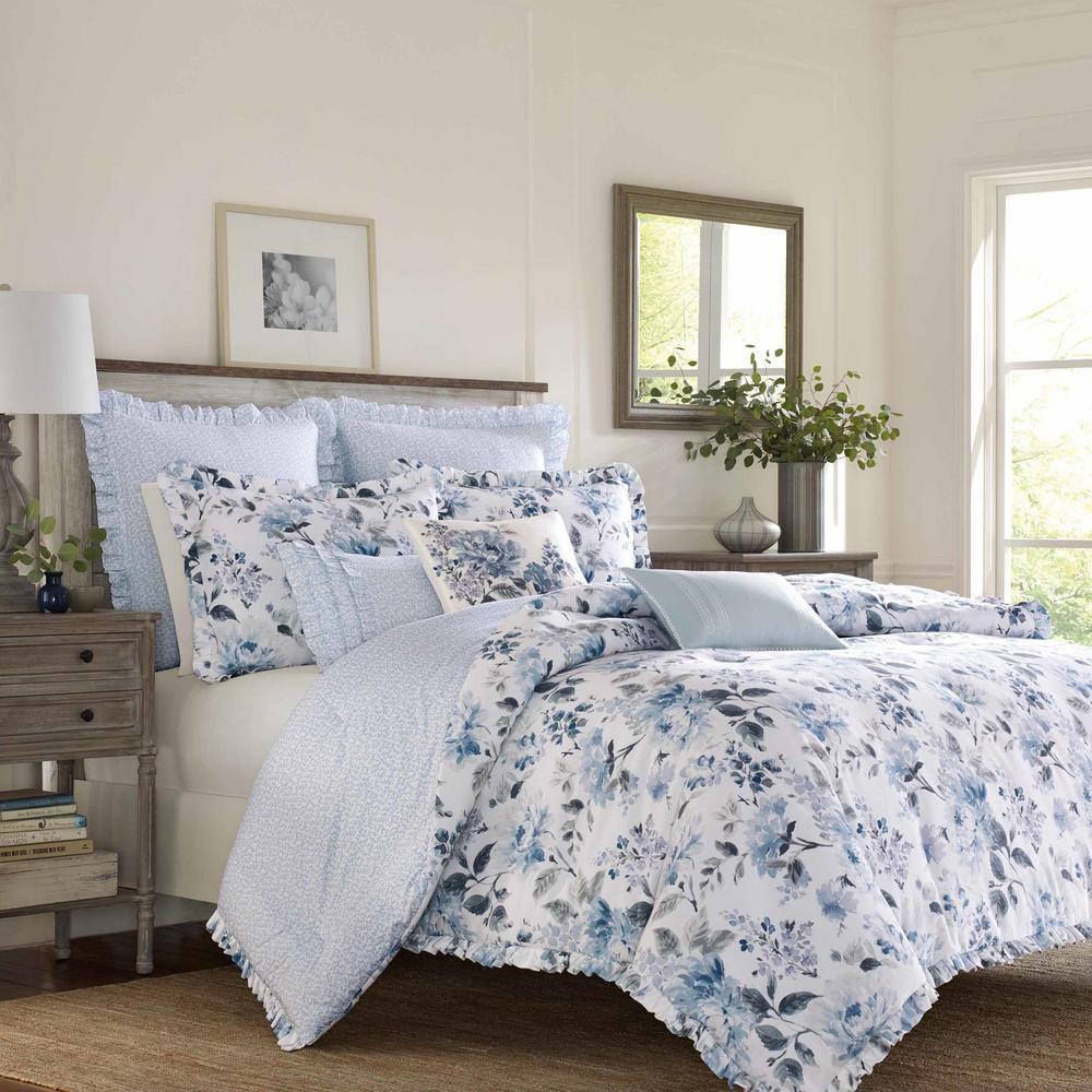 Chloe Blue Cotton 3-Piece Comforter Set, King