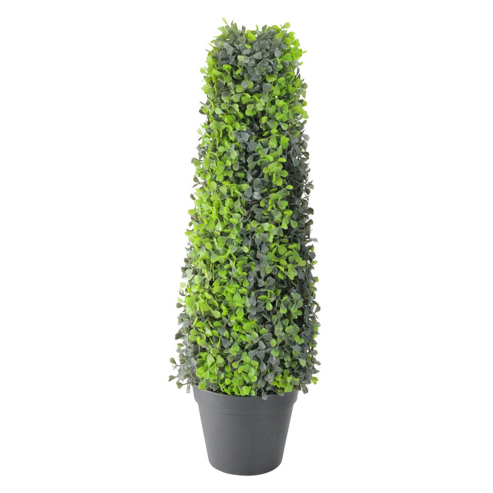 25 in. Potted Artificial 2-Tone Boxed Cone Topiary Tree