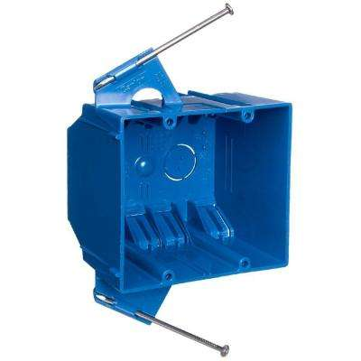 2-Gang 32 cu. in. Blue PVC New Work Electrical Switch and Outlet Box