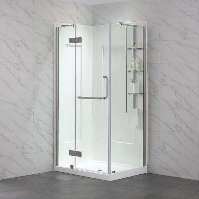 Dalia 32 in. x 40 in. x 79 in. Shower Kit in Satin with Base