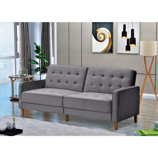 Us Pride Furniture Jonathan 80 In Gray Tufted Velvet 2 Seater Twin Sleeper Sofa Bed With Square Arms Sb9079 The Home Depot