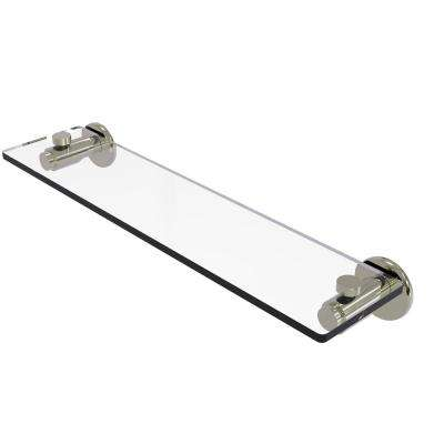 Tribecca Collection 22 in. Glass Vanity Shelf with Beveled Edges in Polished Nickel
