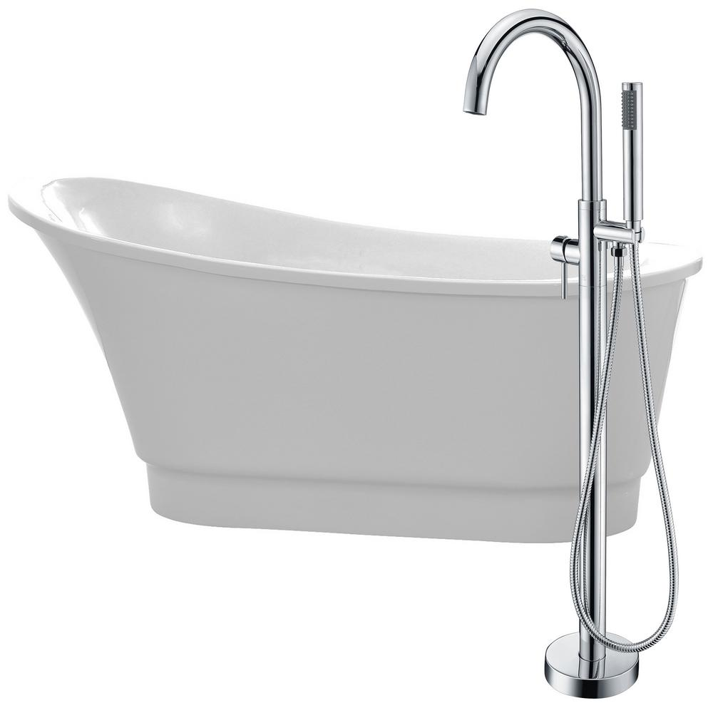 Prima 67 in. Acrylic Flatbottom Non-Whirlpool Bathtub in White with Kros
