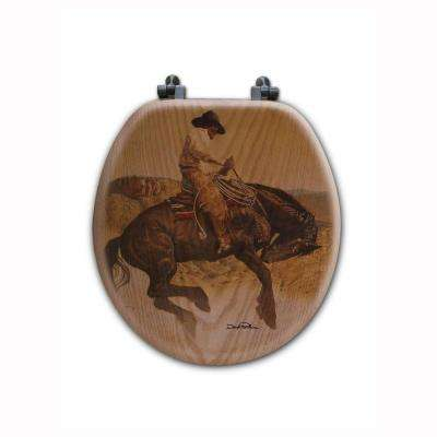 Sun Fishin Son of a Gun Round Closed Front Wood Toilet Seat in Oak Brown