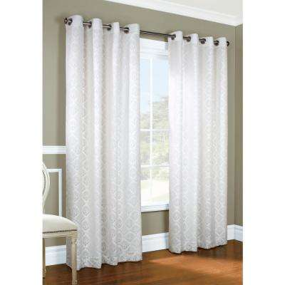 Anna 104 in. x 63 in. White Lined Lace Grommet Panel