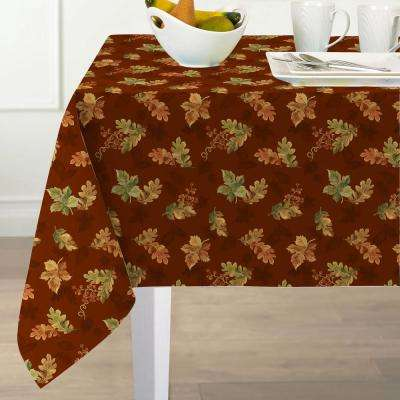 60 in. W x 102 in. L Brick Elrene Swaying Leaves Polyester Fabric Tablecloth