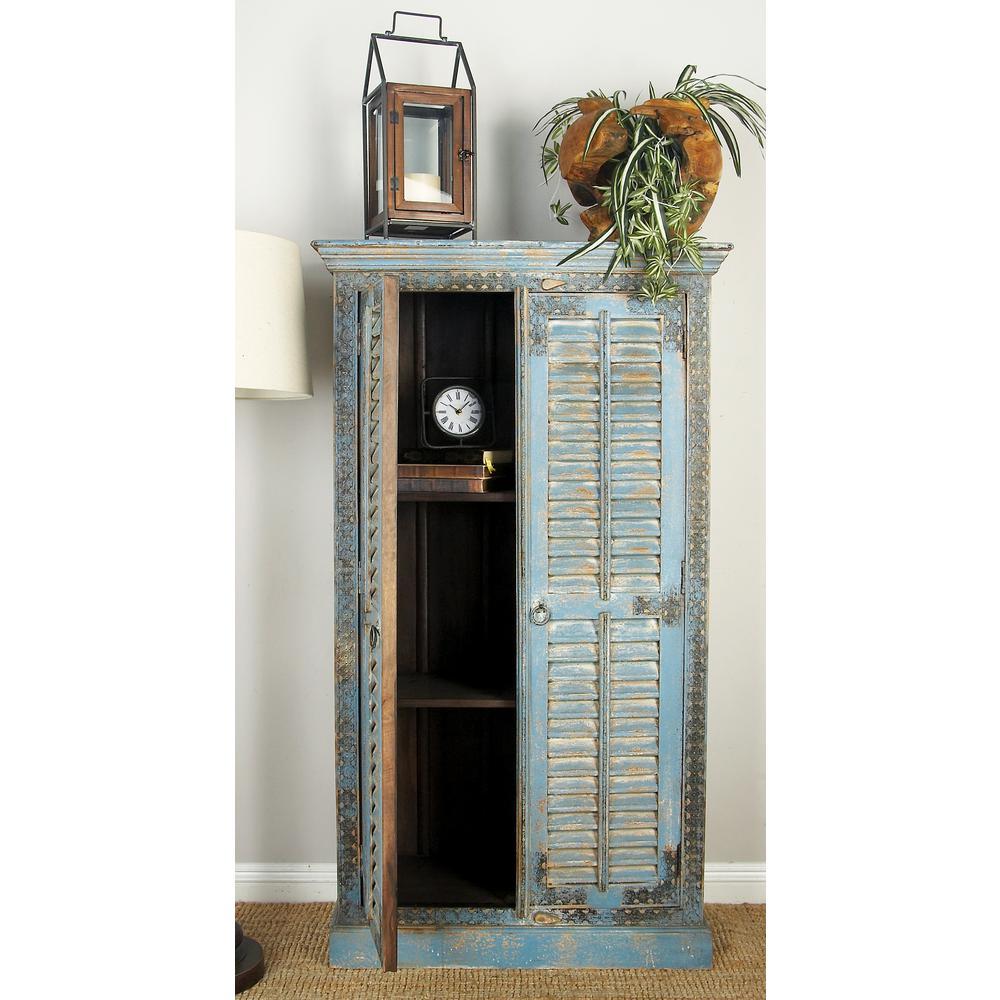 33 in. W x 59 in. H Blue 2-Door Mango Wood Cabinet