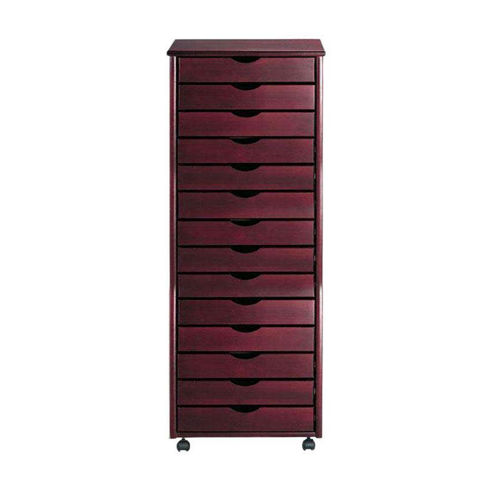 Stanton 14-Drawer Wide Storage Cart in Dark Cherry