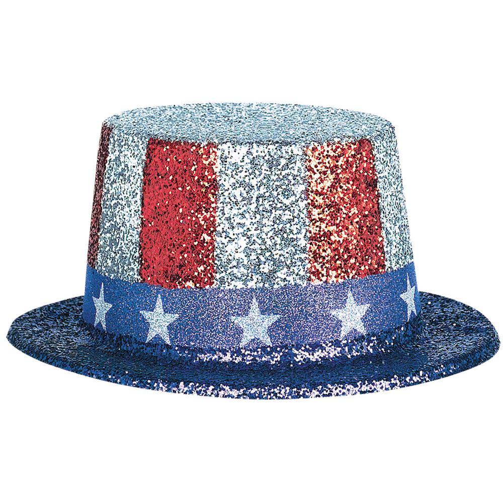 4.5 in. x 9.75 in. x 11 in. Patriotic Glitter Top Hat (3-Pack)