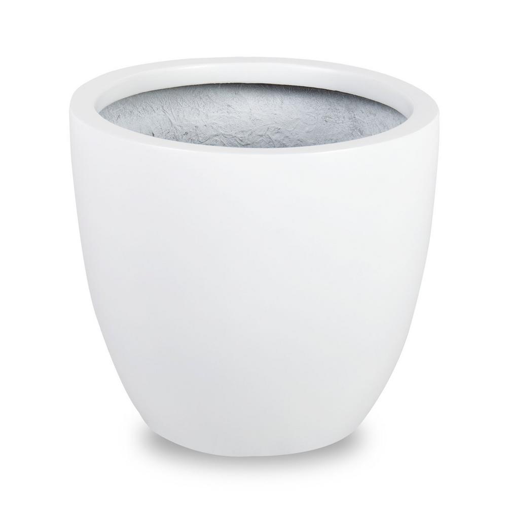 Loire 11 in. Dia White Fiberglass Pot