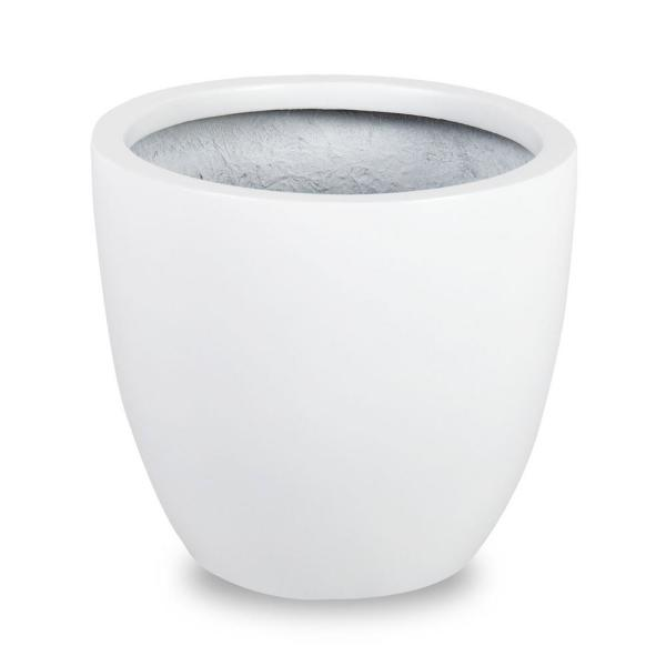 Loire 11 in. Dia White Fiberglass Pot