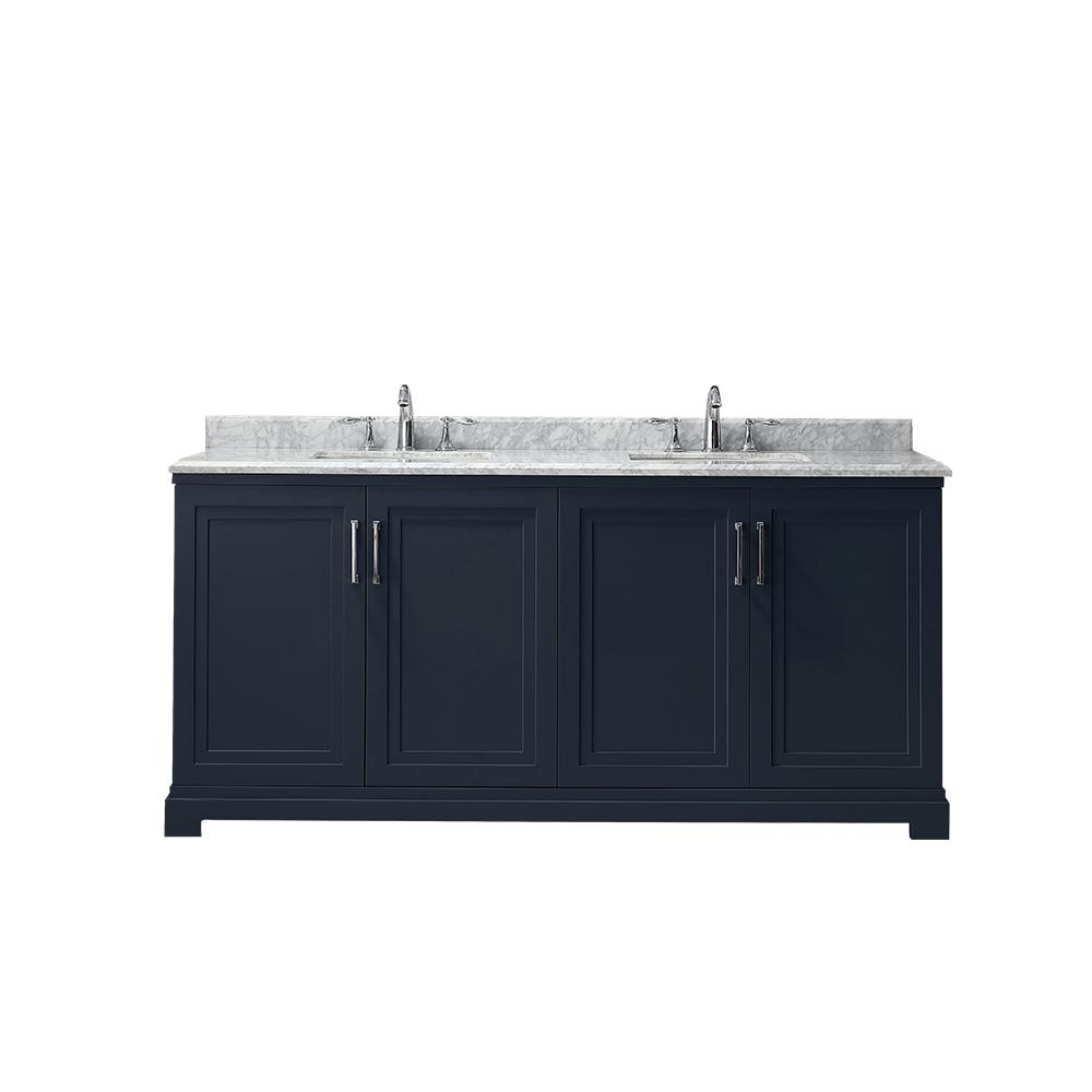 Martha Stewart Living Lynn 72 in. W x 22 in. D Vanity in Midnight Blue with Marble Vanity Top in White with White Basin