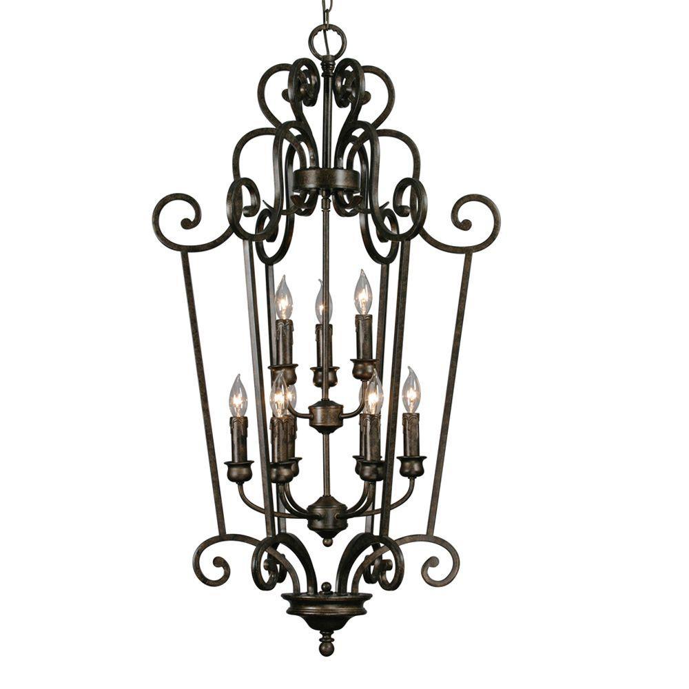 Dalian Collection 9-Light Burnt Sienna 2-Tier Caged Foyer Chandelier