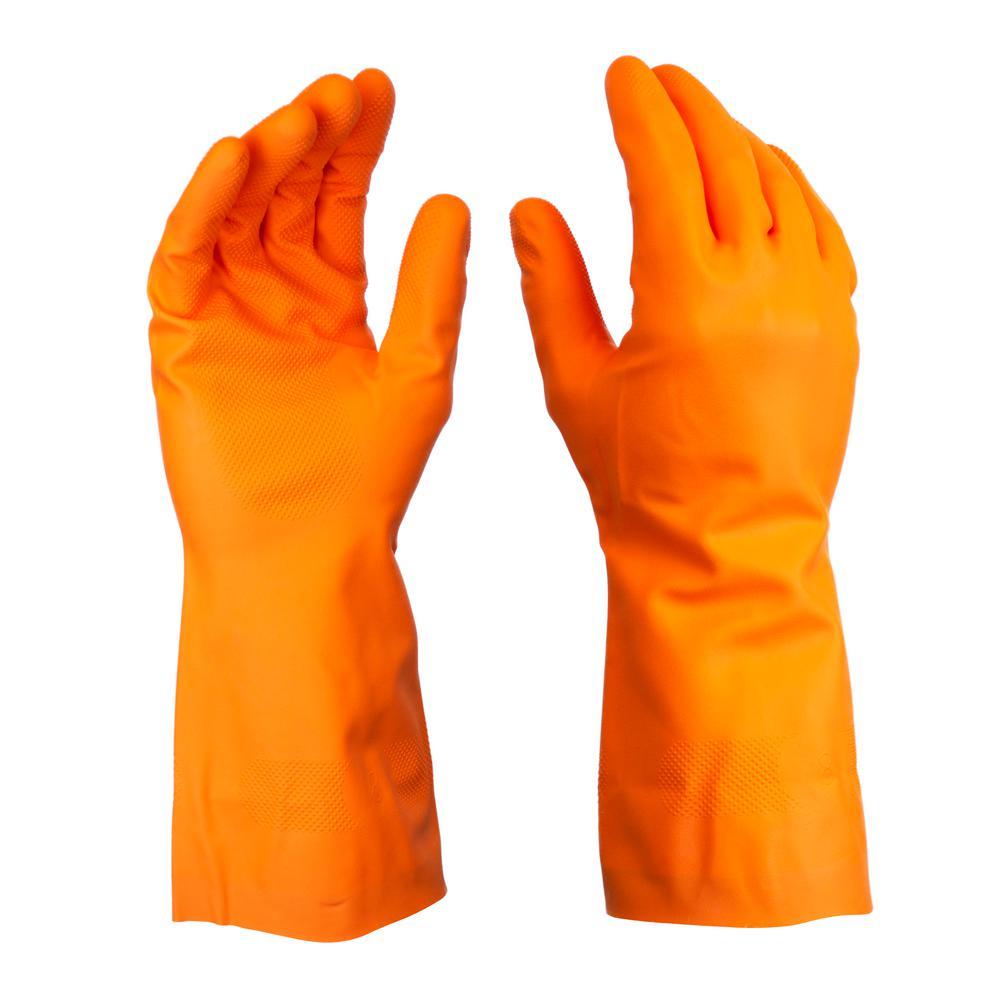 LG/XL Orange Nitrile Long Cuff Gloves