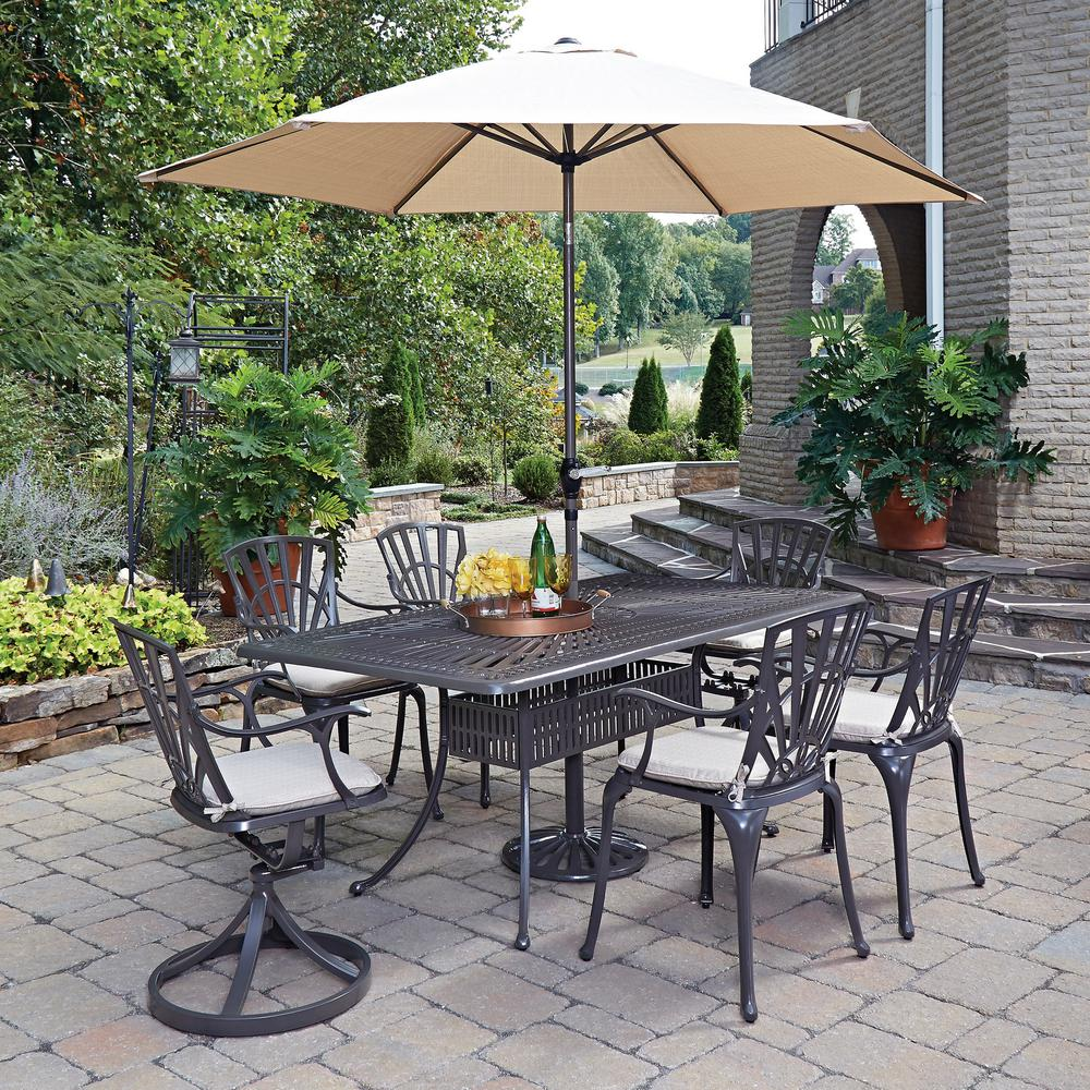 home styles largo 7 piece patio dining set with umbrella and cushions 5561 37586c the home depot. Black Bedroom Furniture Sets. Home Design Ideas